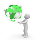 Green earth. The green color globe is covered with small enclosures stock illustration