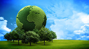 Green earth concept. Landscape with a green earth Royalty Free Stock Photos