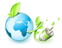 Green earth concept. With a plug royalty free illustration