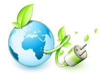 Green earth concept. With a plug Stock Photos