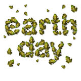 Green Earth Day Concept. Green earth day ecological concept as a group of frogs coming together to form text as an environmental symbol for protection of Royalty Free Stock Photos
