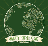 Green Earth Day Flat Poster, Vector Illustration Stock Image