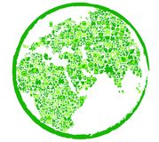 Green earth with ecological. Symbols for ecology concepts. Vector illustration Stock Images