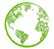 Green earth with ecological symbols. Vector illustration Stock Photos
