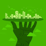Green earth- ecology concept in urban sense.  royalty free illustration