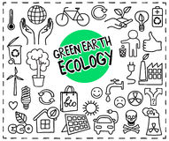 Green Earth Ecology doodle set Stock Image