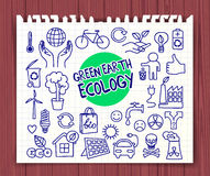Green Earth Ecology doodle set Royalty Free Stock Photography