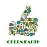 Green Earth environment protection thumb up poster Stock Photos