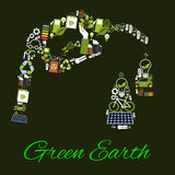 Green Earth environmental bio fuel vector poster Stock Images