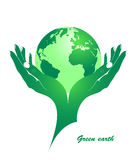 Green earth in female hands. The concept - environmental protection from pollution. Vector silhouette Stock Photography