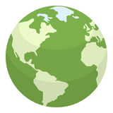 Green Earth Flat Icon Isolated on White Stock Image