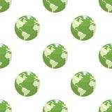 Green Earth Flat Icon Seamless Pattern Royalty Free Stock Photo