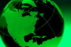 Green Earth Glass Globe Royalty Free Stock Images