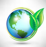 Green earth globe concept. With leafs Stock Photo