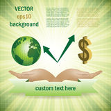 Green earth globe and money ecology Stock Image