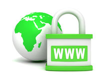 Green earth globe and padlock www security Stock Photos