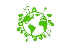 Green Earth Globe Silhouette Wind Turbine Royalty Free Stock Photo