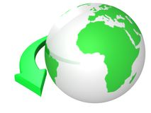 Green earth globesphere with arrow around Stock Image
