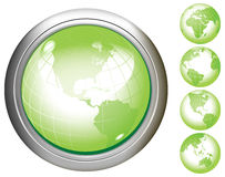 Green Earth glossy buttons. Royalty Free Stock Photo
