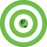 Green Earth Green Target. A Green Earth is positioned at the center of Green Target Stock Photos