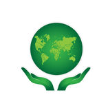 Green Earth. Hands Holding The Green Earth Globe Vector Royalty Free Stock Photography