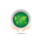 Green Earth. Hands Holding The Green Earth Globe Vector Stock Images