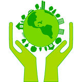 Green earth in hands on a white background Stock Photos