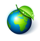 Green earth with a leaf Stock Images