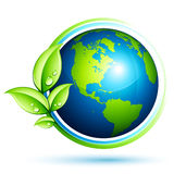 Green earth with leaves Stock Photo