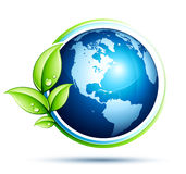 Green earth and leaves vector illustration