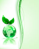 Green Earth with leaves Stock Photos
