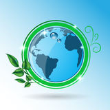 Green earth with leaves icon eps 10  Royalty Free Stock Images