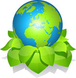 Green earth with leaves. Stock Photography