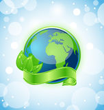Green earth with leaves wrapped ribbon Royalty Free Stock Photos