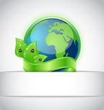 Green earth with leaves wrapped ribbon  Stock Image