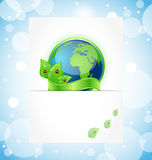 Green earth with leaves wrapped ribbon Stock Photos