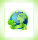Green earth with leaves wrapped ribbon isolated Royalty Free Stock Photo