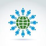 Green earth and mankind symbolic icon, vector conceptual unusual Stock Photos