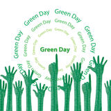 Green earth. The many green hands show as the dreen day concept vector illustration