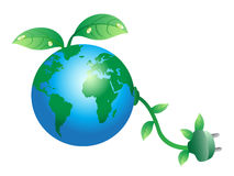 Green earth plug. The concept of green earth plug Royalty Free Stock Photography