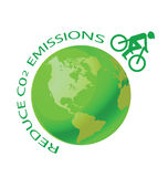 Green earth with pushbike vector illustration