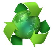 Green earth recycling. Green earth globe inside the recycling symbol vector illustration