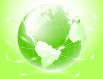 Green earth with satellite Royalty Free Stock Photos