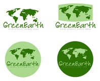 Green Earth signs. Illustration set of Green Earth signs with world maps, white background Stock Images