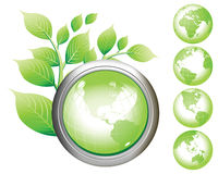 Green Earth Symbol glossy buttons. Royalty Free Stock Images