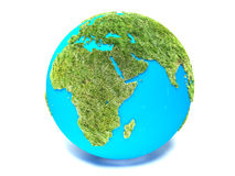 Green Earth on a white background.  Stock Photos