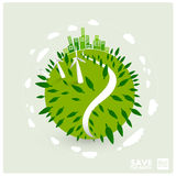 Green earth with wind turbines Stock Images