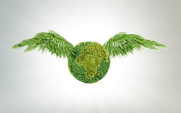 Green Earth with wings Stock Image