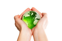 Green earth the world in hand Stock Image