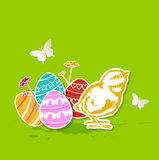 Green Easter background with chicken Stock Photo
